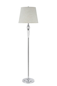 "# 45003 One Light Crystal Accented Floor Lamp, Transitional Design in Chrome with Beige Hardback Lamp Shade , 60"" High,  REGULAR PRICE $106.99 - Now..."