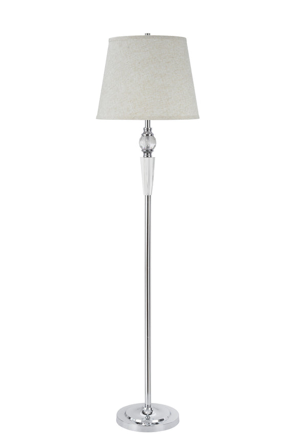 # 45003 One Light Crystal Accented Floor Lamp, Transitional Design in Chrome with Beige Hardback Lamp Shade , 60