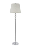 "# 45004 One Light Crystal Accented Floor Lamp, Transitional Design in Chrome with Beige Hardback Lamp Shade , 60"" High"