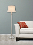"# 45005 One Light Metal Floor Lamp, Transitional Design in Matte Brushed Nickel with Beige Hardback Shade, 60"" High"