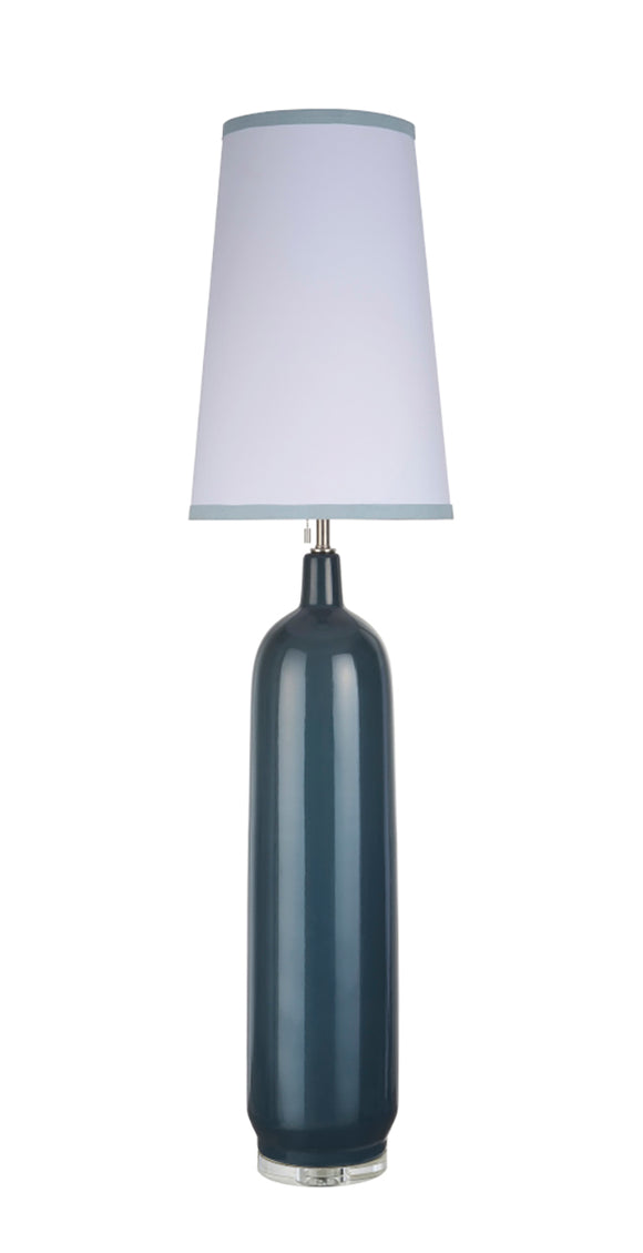 # 45006-2 One Light Ceramic Floor Lamp, Transitional Design in Slate Blue with White Fabric & Blue Trim Lamp Shade, 56