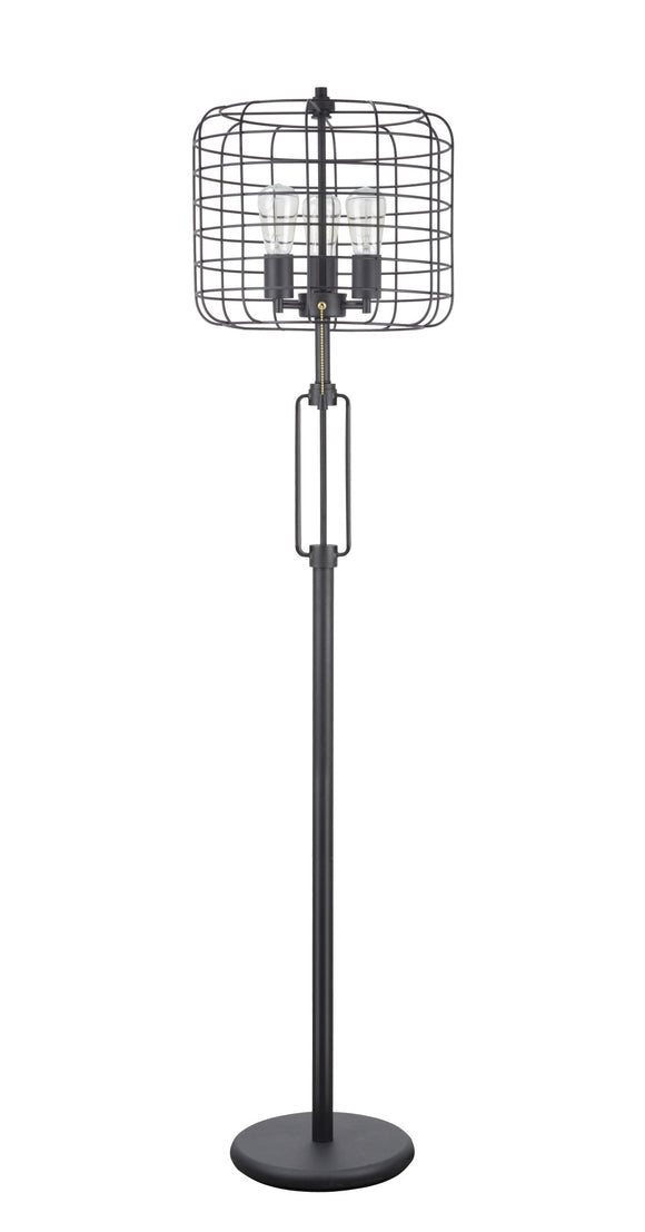 # 45008, Wire Cage Metal Floor Lamp, Vintage Design in Sand Black 63