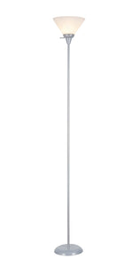 "# 45013-1, 1 Light Metal Torchiere Floor Lamp, Transitional Design in Silver Finish, 71"" High"