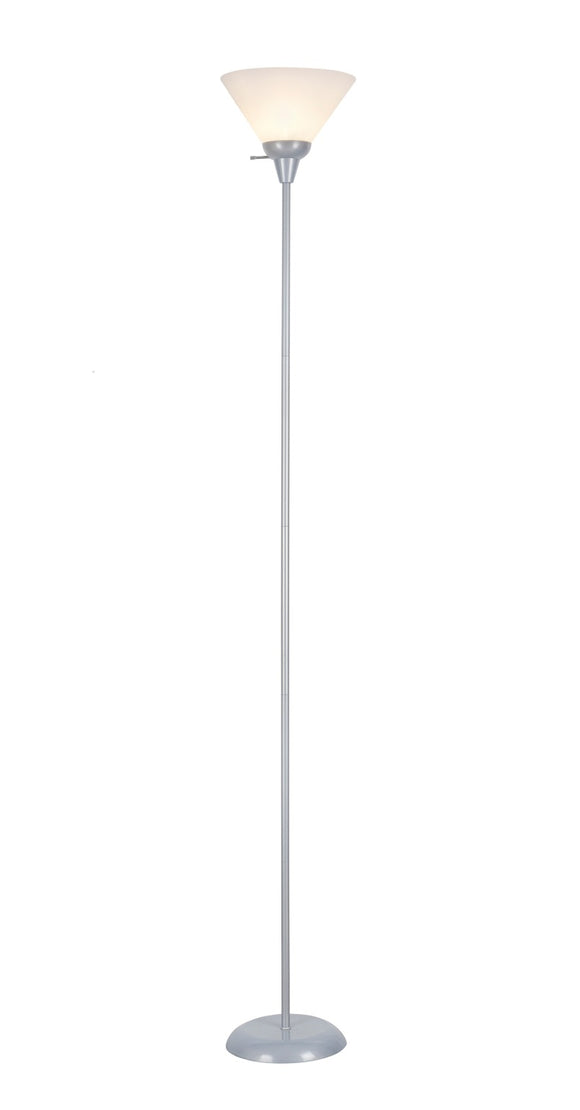 # 45013-1, 1 Light Metal Torchiere Floor Lamp, Transitional Design in Silver Finish, 71