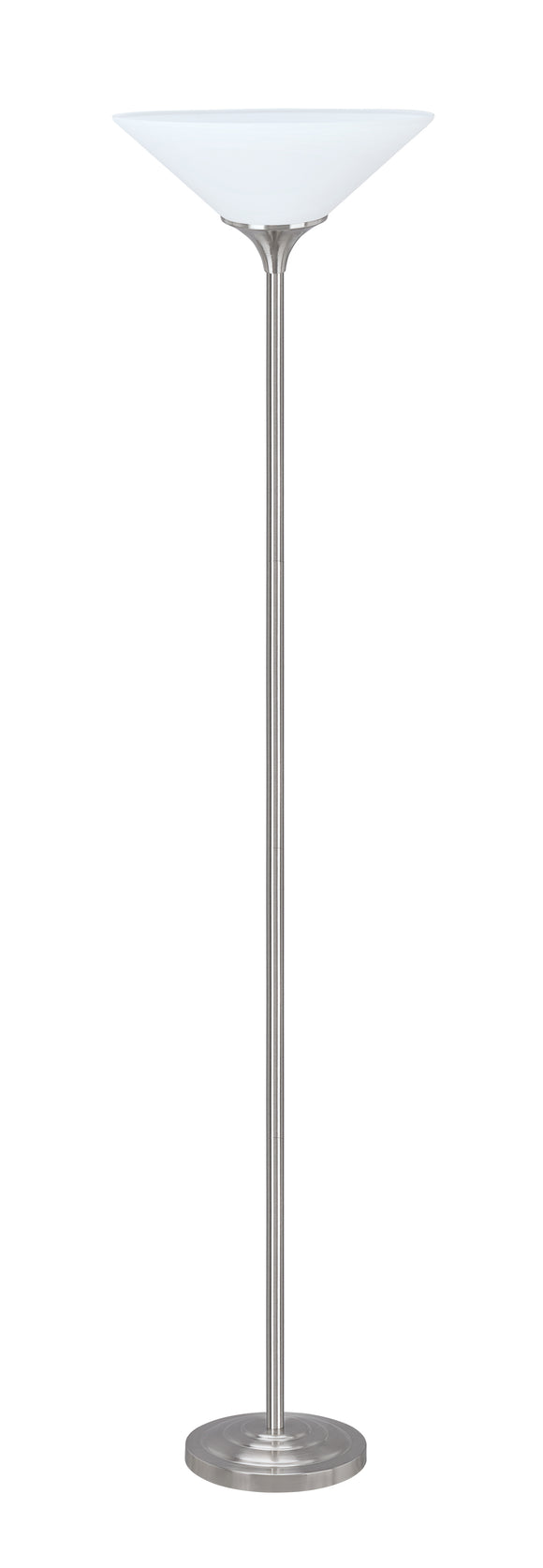 # 45016-11, One-Light Metal Torchiere Floor Lamp, Transitional Design in Satin Nickel Finish, 71