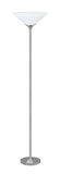 "# 45016-11, One-Light Metal Torchiere Floor Lamp, Transitional Design in Satin Nickel Finish, 71"" High"