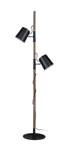 "# 45018-21, Two-Light Adjustable Tree Floor Lamp, Modern Design in Matte Black, 61-1/2"" High"
