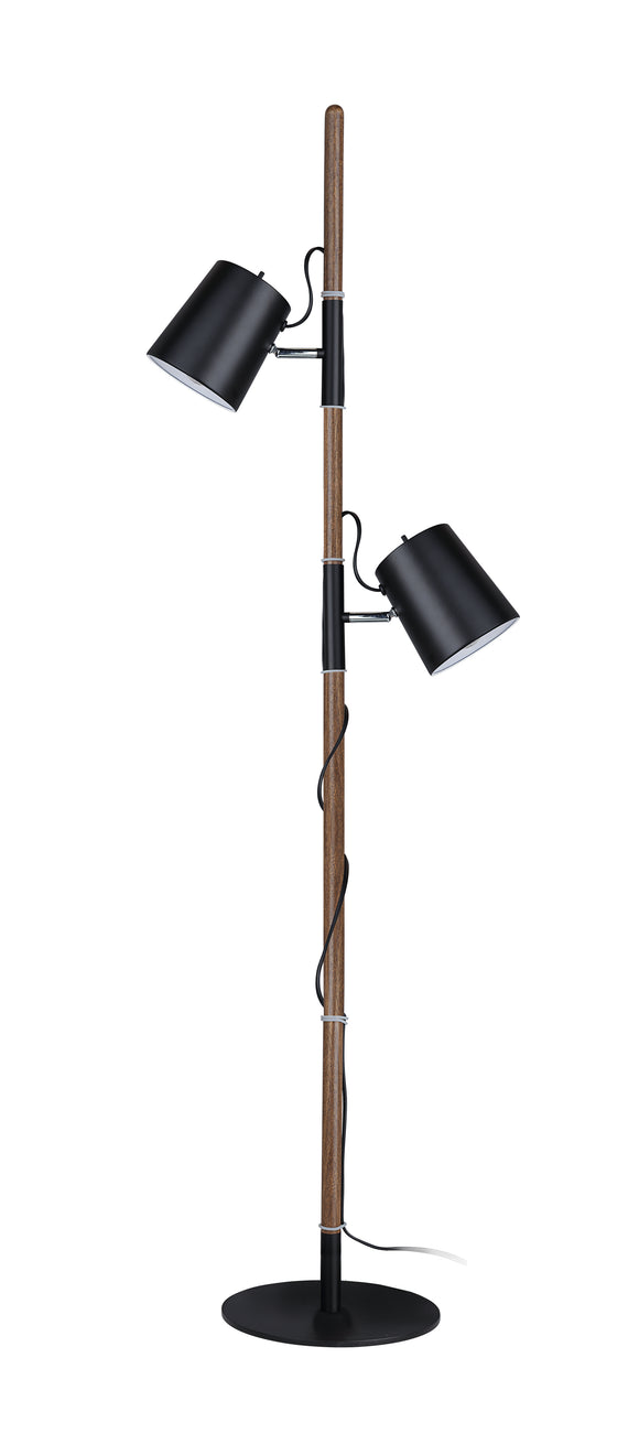 # 45018-21, Two-Light Adjustable Tree Floor Lamp, Modern Design in Matte Black, 61-1/2