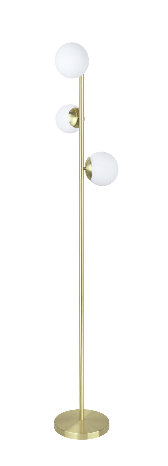 # 45021-11, Three-Light Floor Lamp, Transitional Design in Satin Brass, 65-1/2