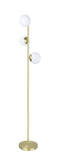 "# 45021-11, Three-Light Floor Lamp, Transitional Design in Satin Brass, 65-1/2"" High"