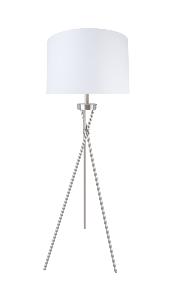# 45022-11, Tripod Floor Lamp, Transitional Design in Satin Nickel, 59