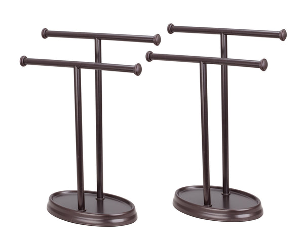 "# 50001-1 Two Pack, Hand Towel Holder, Transitional Design, in Oil Rubbed Bronze, 13 1/2"" H"