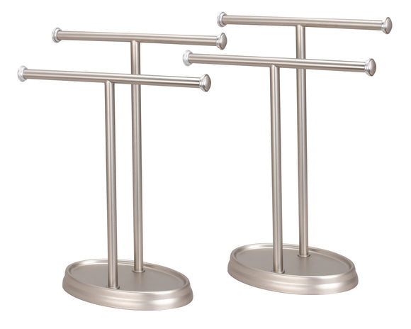 # 50001-2  Two Pack, Hand Towel Holder, Transitional Design in Satin Nickel, 13 1/2