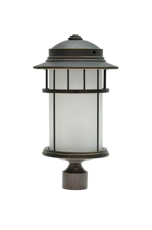 # 60005-2 1 Light Medium Outdoor Post Light Fixture with Dusk to Dawn Sensor, Transitional Design in Aged Bronze Patina, 20