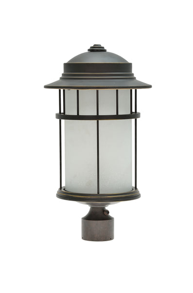 "# 60005-2 1 Light Medium Outdoor Post Light Fixture with Dusk to Dawn Sensor, Transitional Design in Aged Bronze Patina, 20"" High"