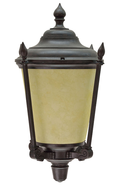 "# 60008 1 Light Large Outdoor Wall Light Fixture, Dusk to Dawn Sensor in Transitional Design, Antique Bronze and Amber Glass, 19"" High"