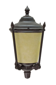 "# 60006 One-Light Medium Outdoor Wall Light Fixture with Dusk to Dawn Sensor, Transitional Design in Antique Bronze, 14 1/4"" High"
