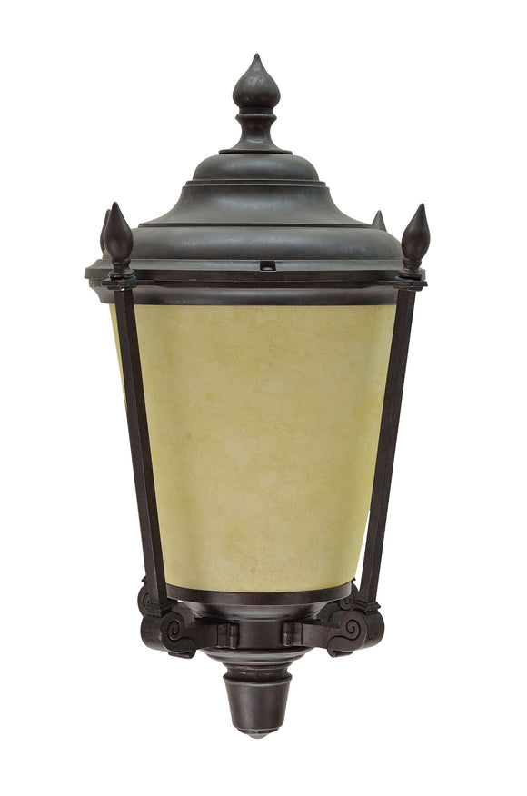 # 60006 1 Light Medium Outdoor Wall Light Fixture, Dusk to Dawn Sensor, Transitional Design, in Antique Bronze with Amber Glass, 14 1/4