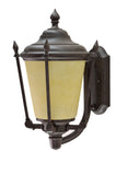 "# 60008 One-Light Large Outdoor Wall Light Fixture with Dusk to Dawn Sensor, Transitional Design in Antique Bronze, 19"" High"