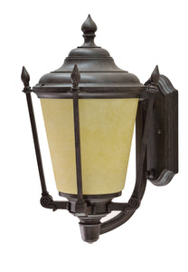"# 60006-2 1 Light Medium Outdoor Wall Light Fixture with Dusk to Dawn Sensor, Transitional Design in Antique Bronze, 14 1/4"" High"