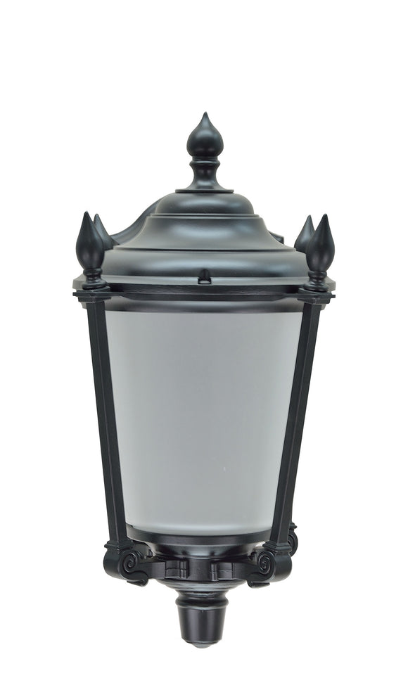 # 60007 1 Light, Medium Outdoor Wall Fixture, Dusk-Dawn Sensor, Transitional Design, Black with Frosted Glass, 14 1/4