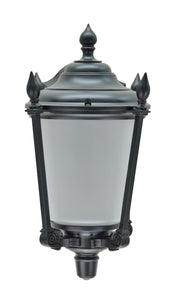 "# 60009 1 Light Large Outdoor Wall Light Fixture, Dusk to Dawn Sensor , a Transitional Design in Black with Frosted Seeded Glass, 19"" High"