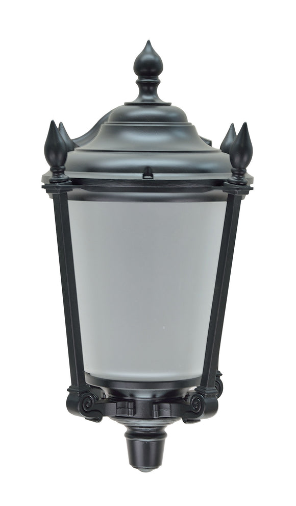 # 60009 1 Light Large Outdoor Wall Light Fixture, Dusk to Dawn Sensor , a Transitional Design in Black with Frosted Seeded Glass, 19