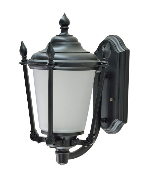 # 60007-2 1 Light Medium Outdoor Wall Light Fixture with Dusk to Dawn Sensor, Transitional Design in Black, 14 1/4