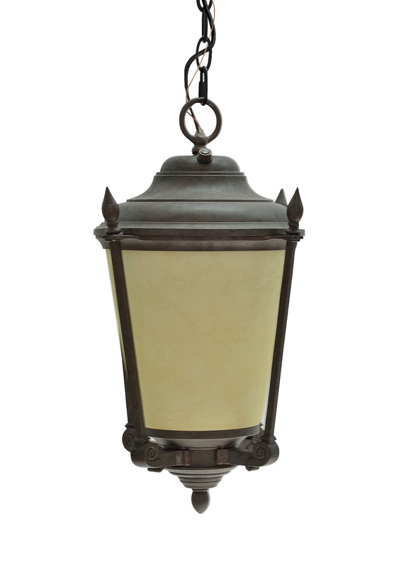 # 60010 One-Light Medium Outdoor Hanging Pendant Light Fixture with Dusk to Dawn Sensor, Transitional Design in Antique Bronze, 18 1/2