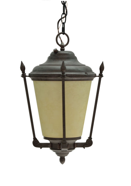 "# 60010 1 Light Medium Outdoor Hanging Pendant Light Fixture, Dusk to Dawn Sensor, Transitional Design, Antique Bronze Finish, 18 1/2"" High"