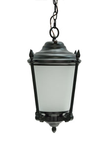 "# 60011 One-Light Medium Outdoor Hanging Pendant Light Fixture with Dusk to Dawn Sensor, Transitional Design in Black, 18 1/2"" High"