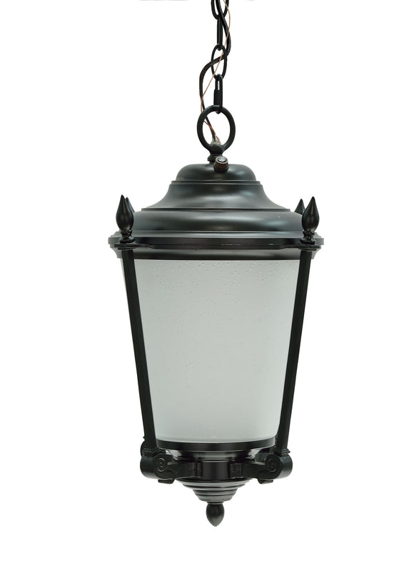 # 60011 1 Light Medium Outdoor Hanging Pendant Light Fixture with Dusk to Dawn Sensor, Transitional Design in Black Finish, 18 1/2