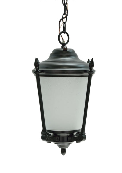 "# 60011 1 Light Medium Outdoor Hanging Pendant Light Fixture with Dusk to Dawn Sensor, Transitional Design in Black Finish, 18 1/2"" High"