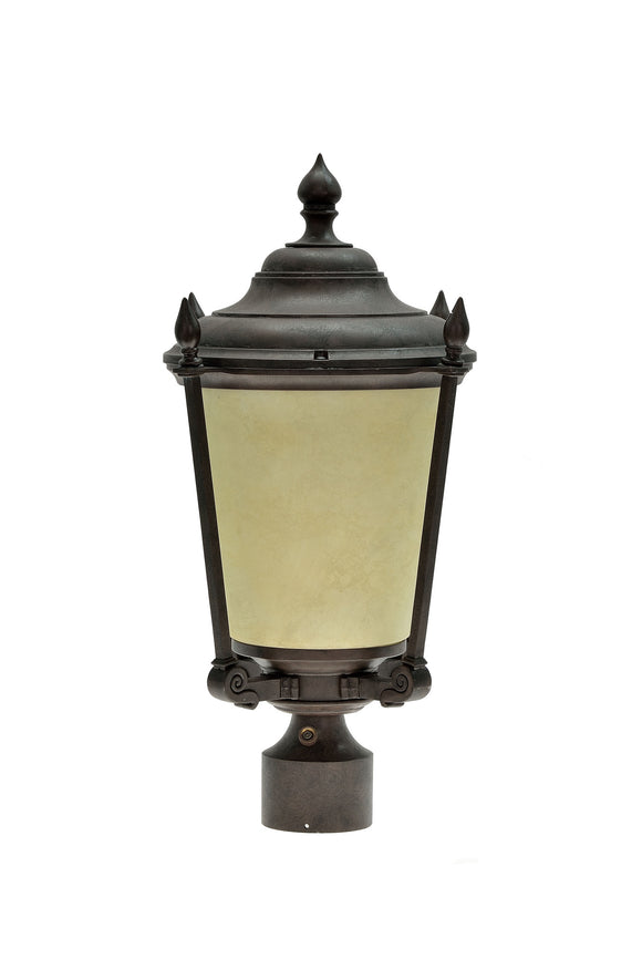 # 60012 One-Light Medium Outdoor Post Light Fixture with Dusk to Dawn Sensor, Transitional Design in Antique Bronze, 20 1/2