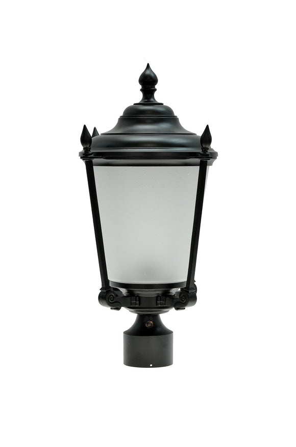 # 60013  1 Light Medium Outdoor Post Light Fixture, Dusk to Dawn Sensor, Transitional Design, in Black with Frosted Seeded Glass, 20 1/2