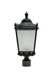 "# 60013 One-Light Medium Outdoor Post Light Fixture with Dusk to Dawn Sensor, Transitional Design in Black, 20 1/2"" High"