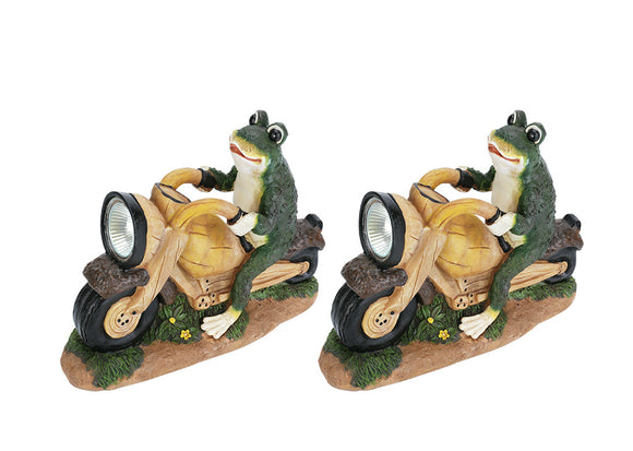 # 60900 Two Pack Set, Frog on a Motorcycle Solar LED Accent Light Statue, 10