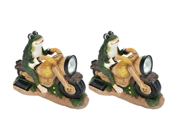 "# 60900 Two Pack Set, Frog on a Motorcycle Solar LED Accent Light Statue, 10"" Length"