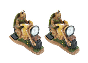"# 60901 Two Pack Set, Turtle on a Motorcycle Solar LED Accent Light Statue, 10"" Length"