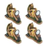 "# 60901-4, Four Pack Set, Turtle on a Motorcycle Solar LED Accent Light Statue, 10"" Length"