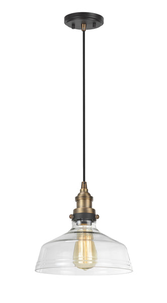 "# 61001  Adjustable 1 Light Hanging Mini Pendant Ceiling Light, Vintage Design, Antique Brass, Clear Glass Shade, 9 3/4"" W"