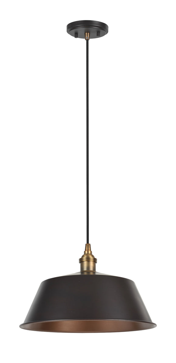 # 61002 Adjustable One-Light Hanging Mini Pendant Ceiling Light, Vintage Design in Oil Rubbed Bronze Finish, Metal Shade, 13 3/4