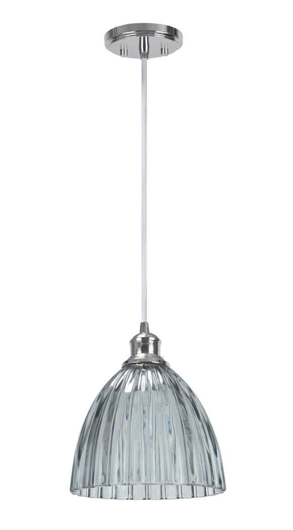 # 61004-1 Adjustable One-Light Hanging Mini Pendant Ceiling Light, Transitional Design in Chrome Finish, Smoked Crystal Glass Shade, 9 3/4