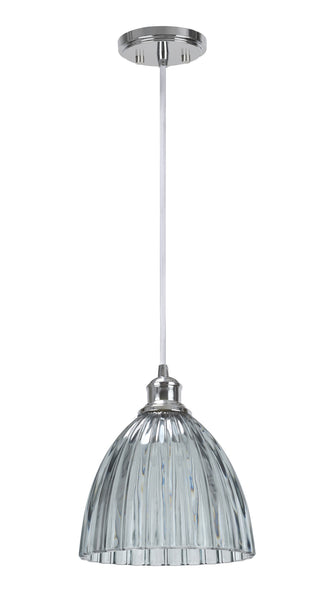 "# 61004-1 Adjustable 1 Light Hanging Mini Pendant Ceiling Light, Transitional Design, Chrome, Smoked Crystal Glass, 9 3/4"" W"