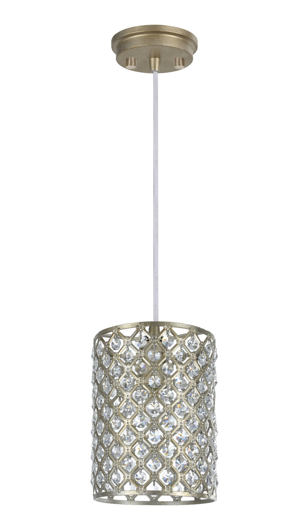 # 61005  Adjustable 1 Light Hanging Mini Pendant Light, Transitional Design, Antique Silver Finish, Crystal Beaded Shade, 6 1/4