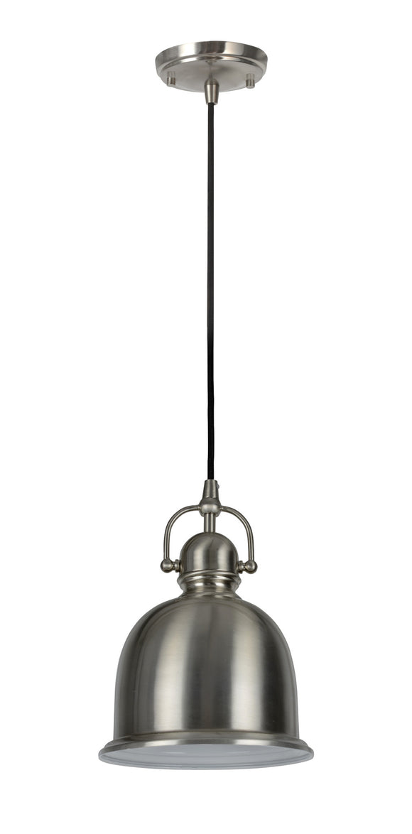 # 61006 Adjustable 1 Light Hanging Mini Pendant Ceiling Light, Transitional Design in Brushed Nickel Finish, Metal Shade, 8
