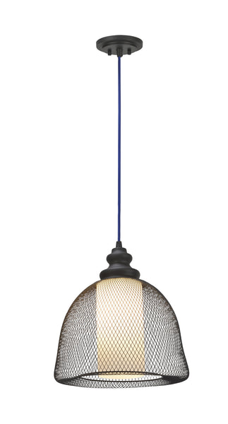 "# 61018 Adjustable 1 Light Hanging Mini Pendant Light, Transitional Design, Oil Rubbed Bronze, Mesh-Frosted Glass Shade, 12 1/4"" W"