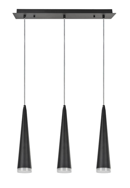 "# 61024 Adjustable LED 3 Light Hanging Pendant Ceiling Light, Contemporary Design in Matte Black Finish, Metal Shade, 23"" Wide"