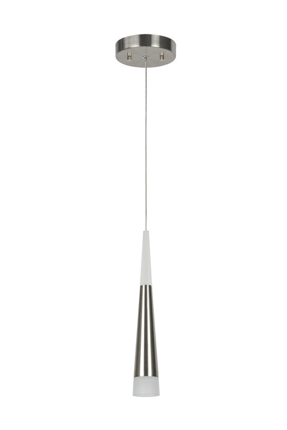 # 61029 Adjustable LED One-Light Hanging Mini Pendant Light, Contemporary Design, Brushed Nickel, Metal Shade, 4 3/4