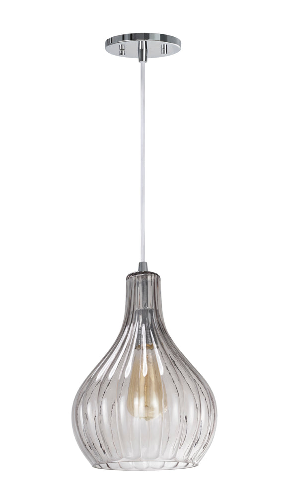 # 61039-2  Adjustable One-Light Mini Pendant Ceiling Light, Transitional Design, Chrome Finish, Smoke Glass Shade, 8 5/8